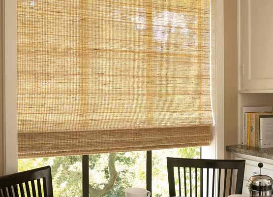 фото римской шторы из бамбуковой соломки