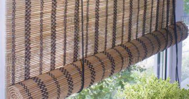 фото рулонной шторы из бамбука