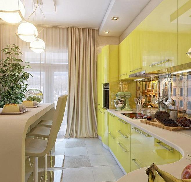 бежевые шторы в дизайне желтой кухни