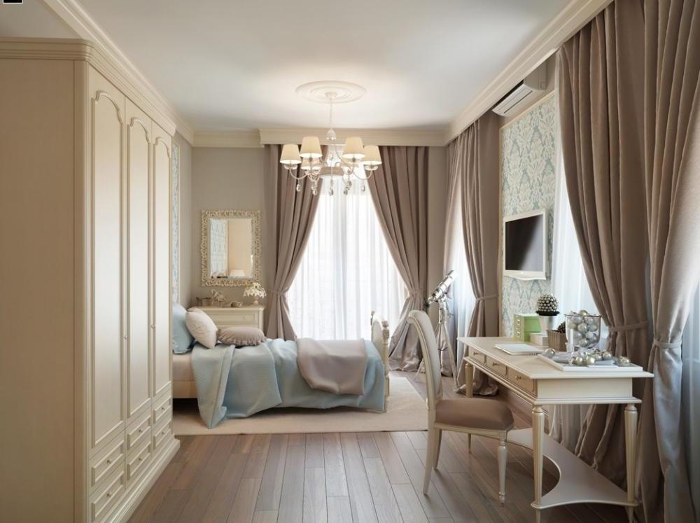 бежевые портьеры в спальной комнате