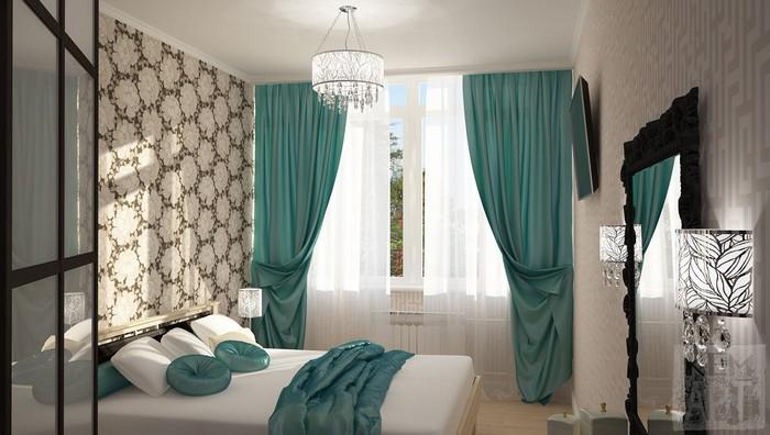бирюзовые шторы с белым тюлем