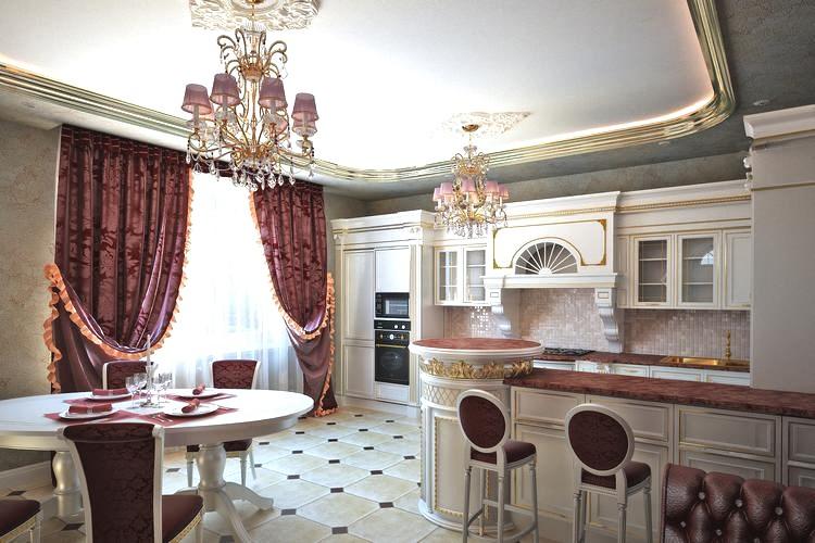 кухня в классическом стиле с бордовыми портьерами