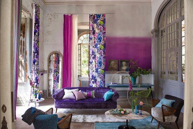 сочетание фиолетового с другими в дизайне