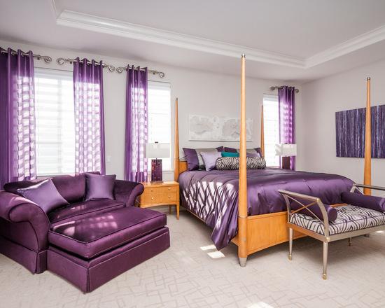 фиолетовые гардины в спальне
