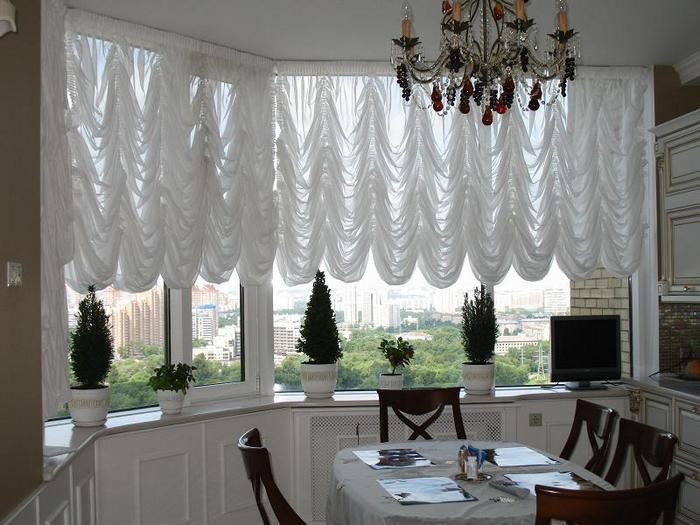 фото французских штор в кухне