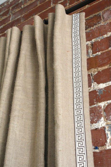 фото штор в греческом стиле из мешковины