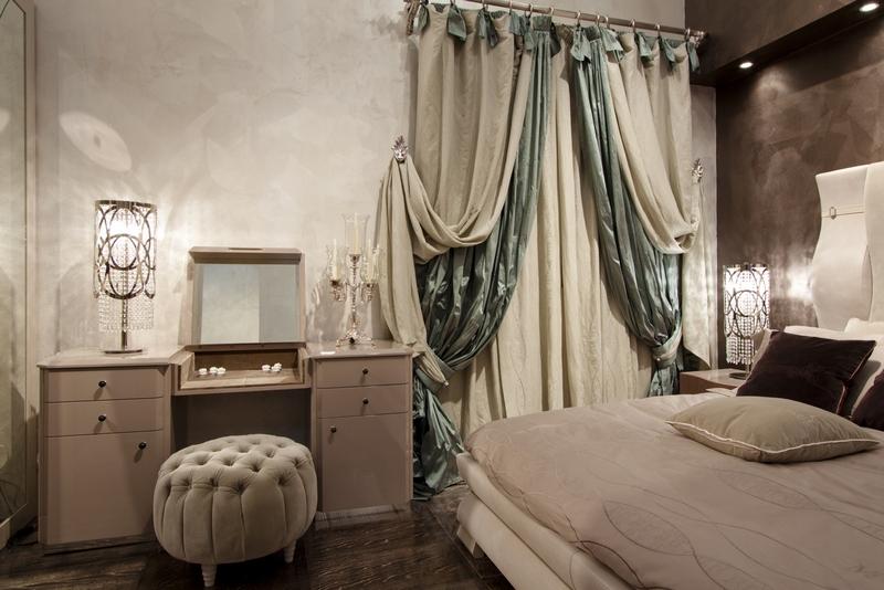 итальянские портьеры и тюль в спальне