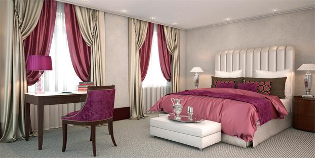 итальянские шторы двух цветов в интерьере спальной комнаты