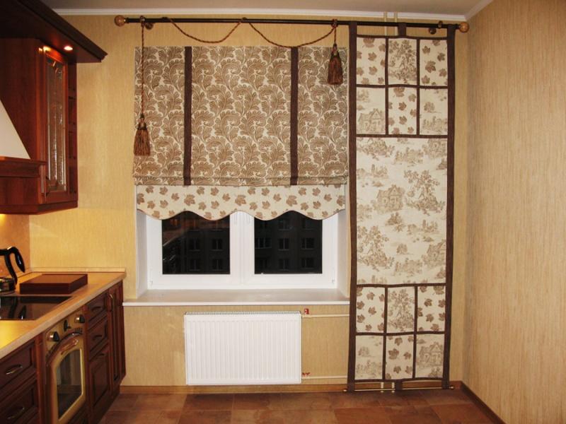 оформление окна кухни с балконом