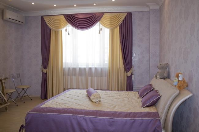 шторы с ламбрекенами для спальни
