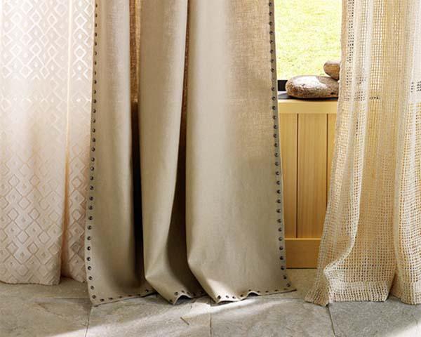 Комплект льняных штор и тюля