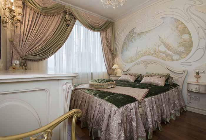 фото шторы с мягкими ламбрекенами для спальни