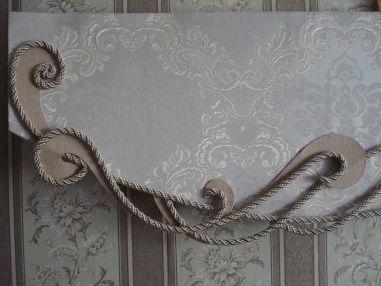 декорирование бандо для штор шнуром
