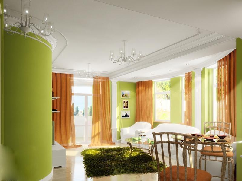 оранжевые шторы в интерьере зеленой гостиной