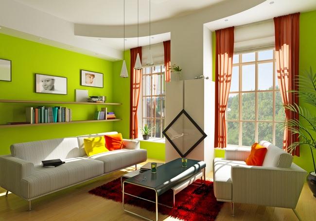 сочетание оранжевых штор с зеленым цветом в интерьере