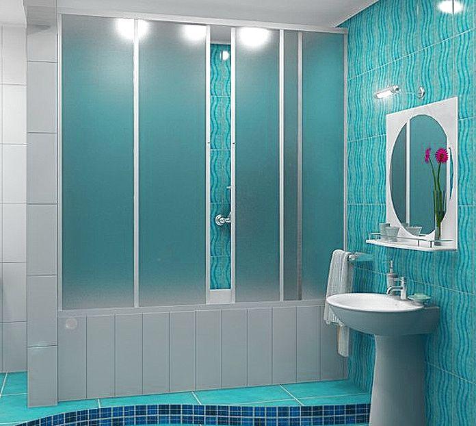 пластиковые раздвижные занавески в ванной