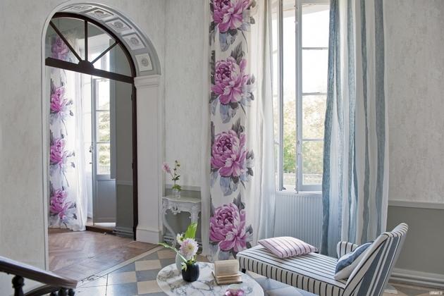 фото штор для зала с рисунком