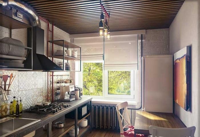 фото римских штор на кухне в стиле лофт