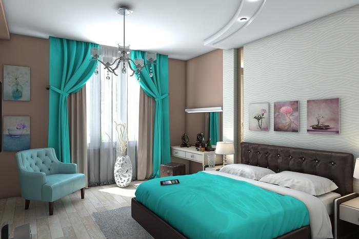 бирюзовые шторы и покрывало в спальне