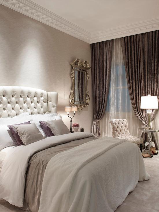 сочетания тюля и штор в спальне