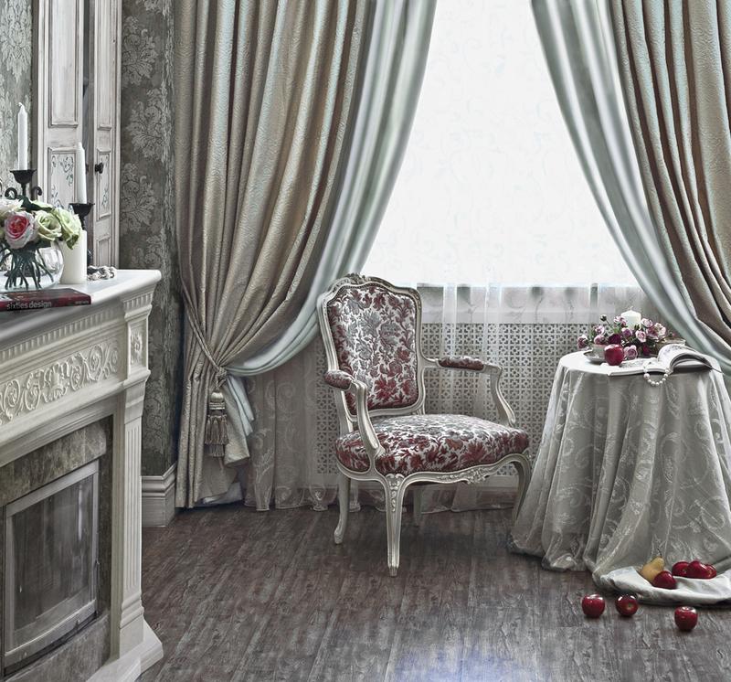 шелковые шторы в интерьере столовой