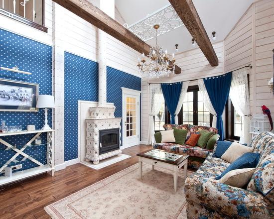 яркие шторы в стиле прованс в гостиной