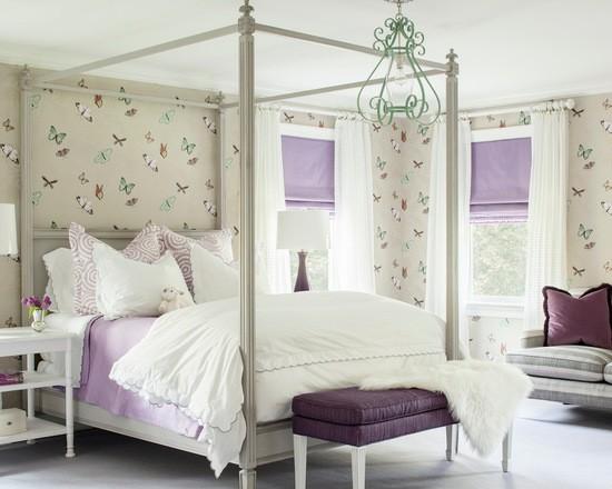 нежно-лиловые шторы в детской комнате девочки