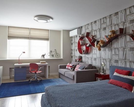 цветовая гамма штор и интерьера в комнате подростка