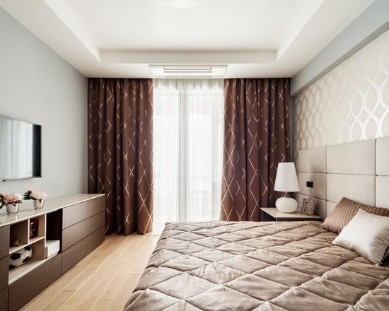 фото коричневой шторы в спальне