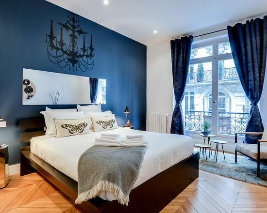 фото синей гардины для спальни