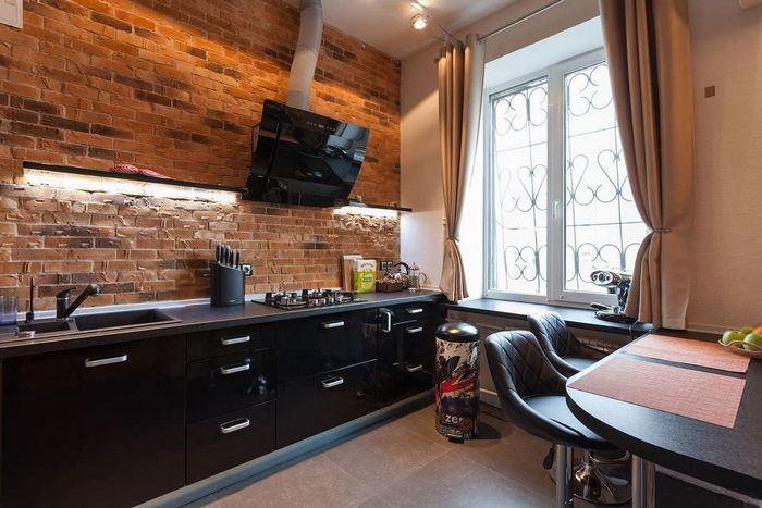 фото дизайн кухни и штор в лофт стиле