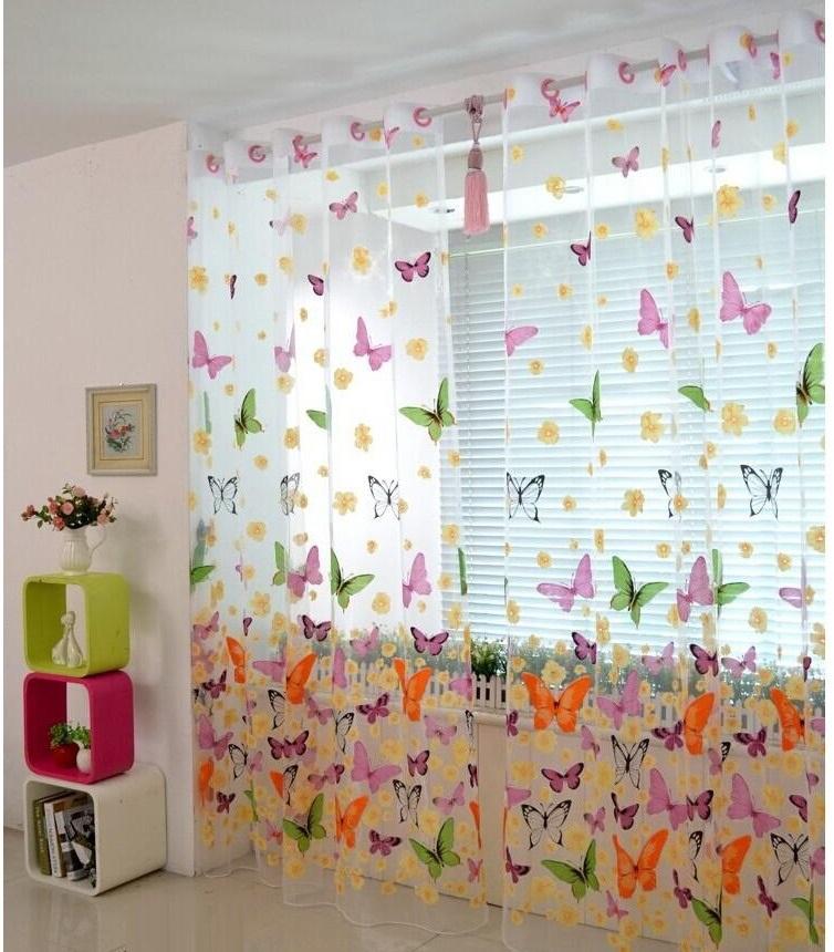 тюль с рисунком бабочек для детской комнаты