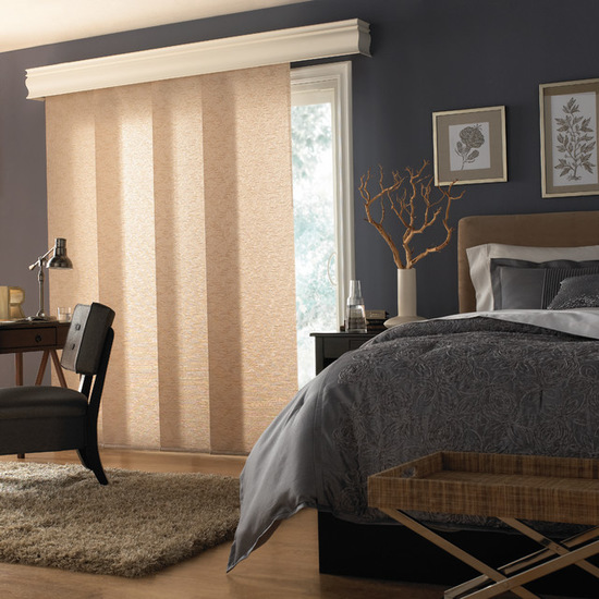фото японской шторы в интерьере спальни