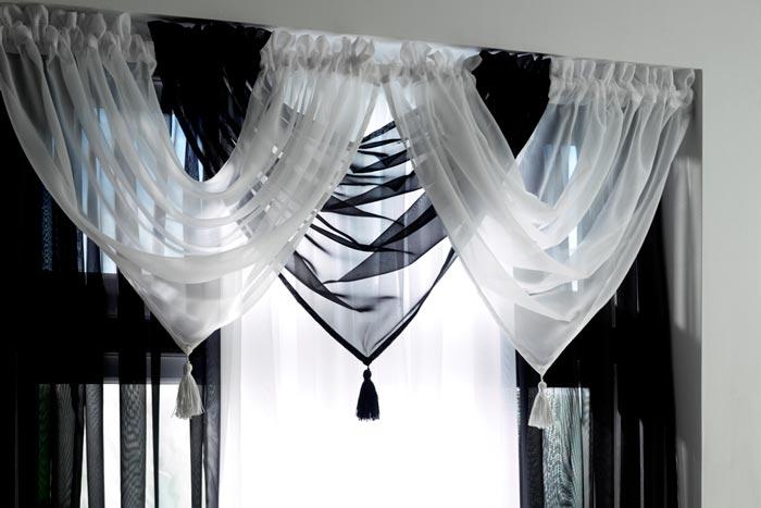контрастные черно-белые занавески из вуали