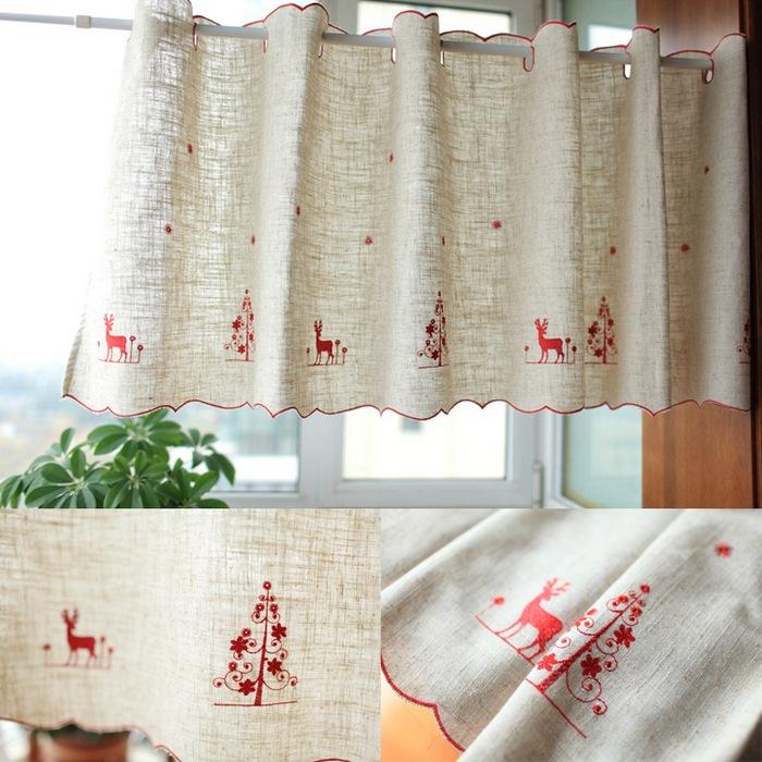 фото занавесок в деревенском стиле из льняной ткани