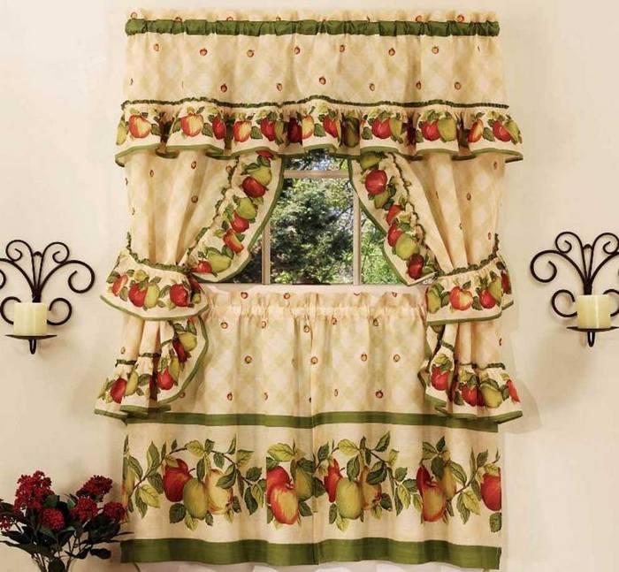 фото занавесок в деревенском стиле с фруктовым рисунком