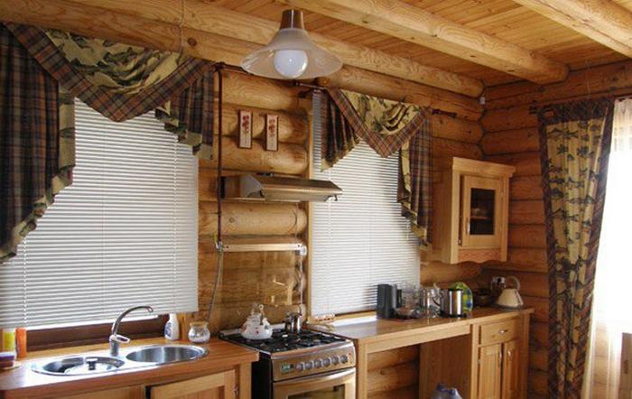 занавески в деревенском стиле на кухне