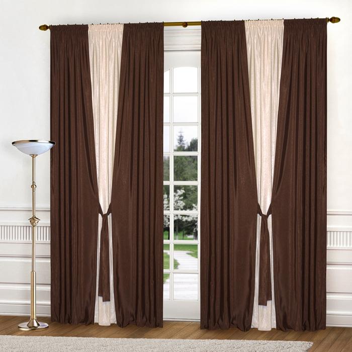 бежево-коричневвые комбинированные портьеры
