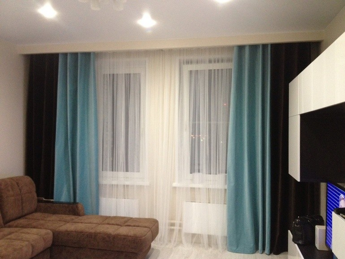 фото комбинированных штор с тюлем