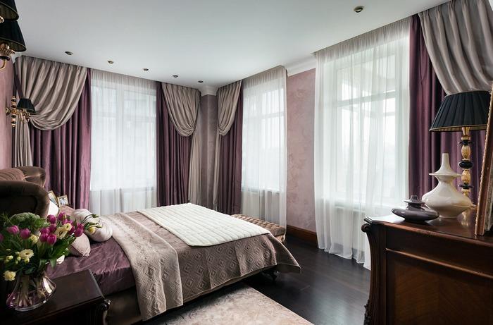 фото двухцветных штор с тюлем в спальной комнате
