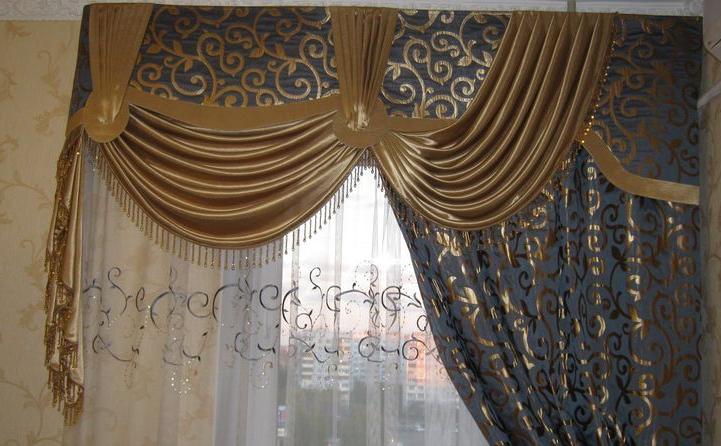 фото штор из парчи с тюлем