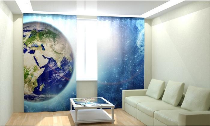 фотошторы с 3д рисунком космос