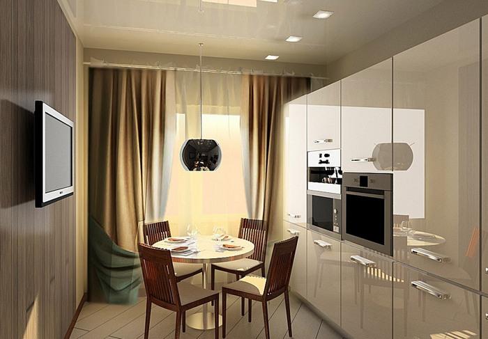 фото штор в стиле хай тек на кухне