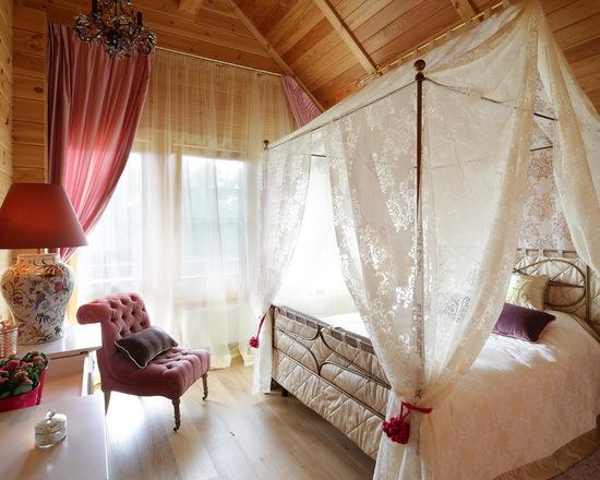 тюль и портьера в спальне