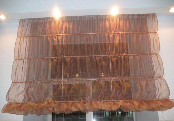 фото римских штор из вуали