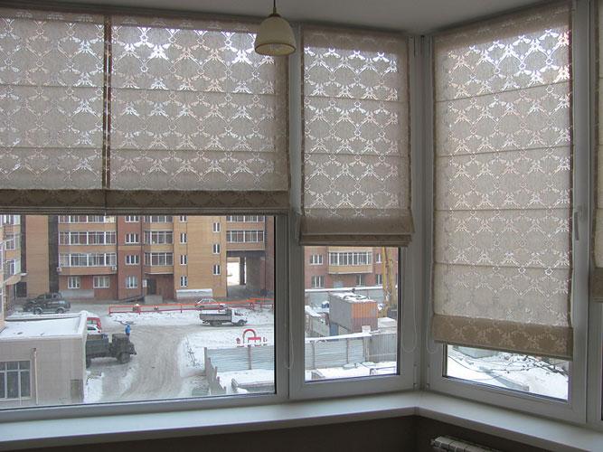 фото римских штор для балкона