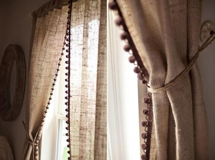 фото занавесок из мешковины