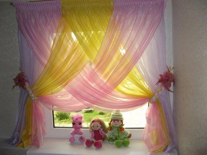 шторы из вуали разных цветов для детской