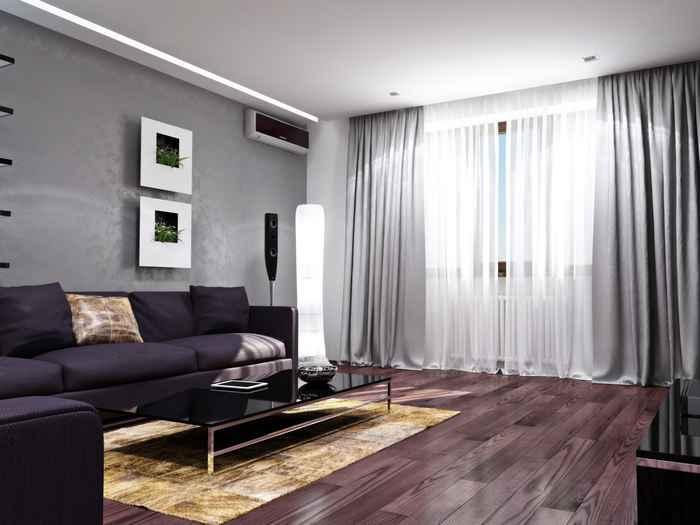 фото серых штор с металлическим блеском в стиле хай тек