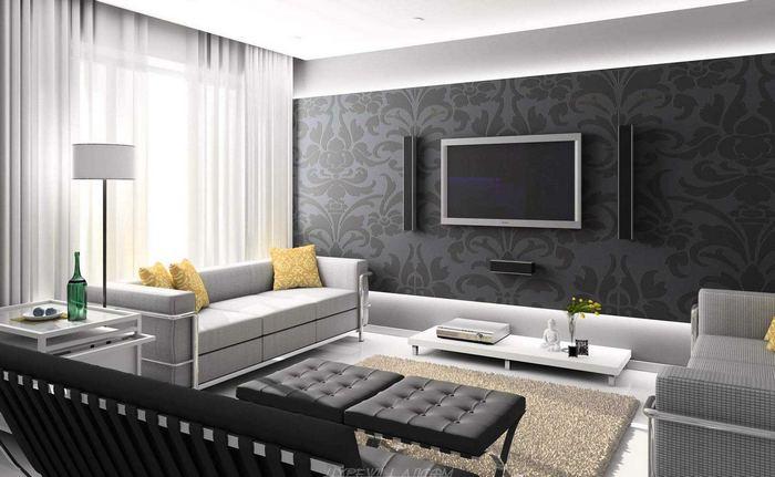 фото штор хай тек в интерьере гостиной комнаты